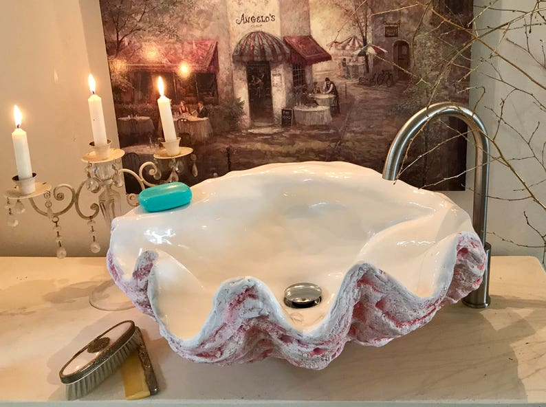 Giant Clam Shell Bathroom Sink Wash Basin Vessel Bowl Sculpture Art Counter Top Cloakroom In Soft Muted Pink