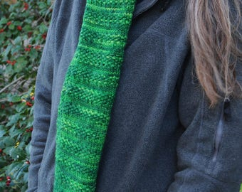 hand dyed and knit merino wool scarf, soft emerald green, medium weight, men and women