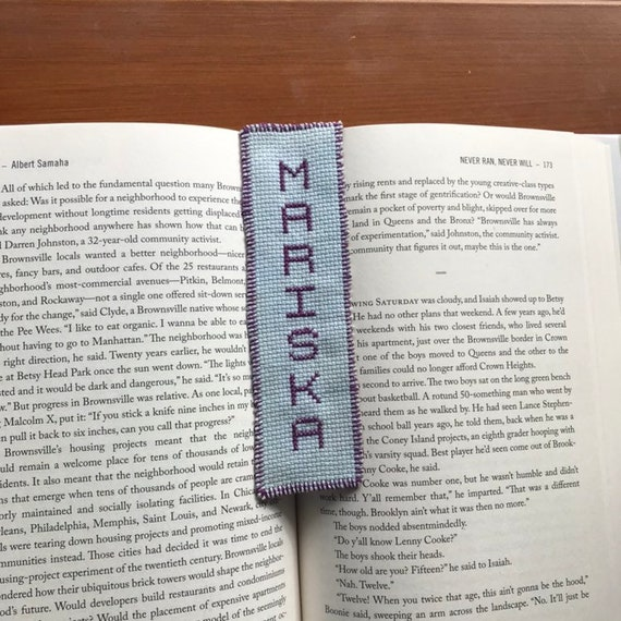 Cross stitch bookmark girls name Mariska handmade handcrafted blue purple  birthday baptism graduation embroidery needlecraft needlepoint