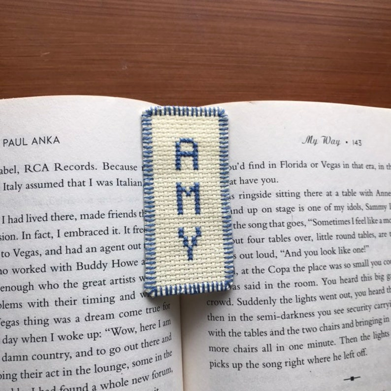 Cross stitch bookmark needlecraft needlepoint embroidery name Amy blue  white bookworm Christmas beloved birthday baptism literature friend