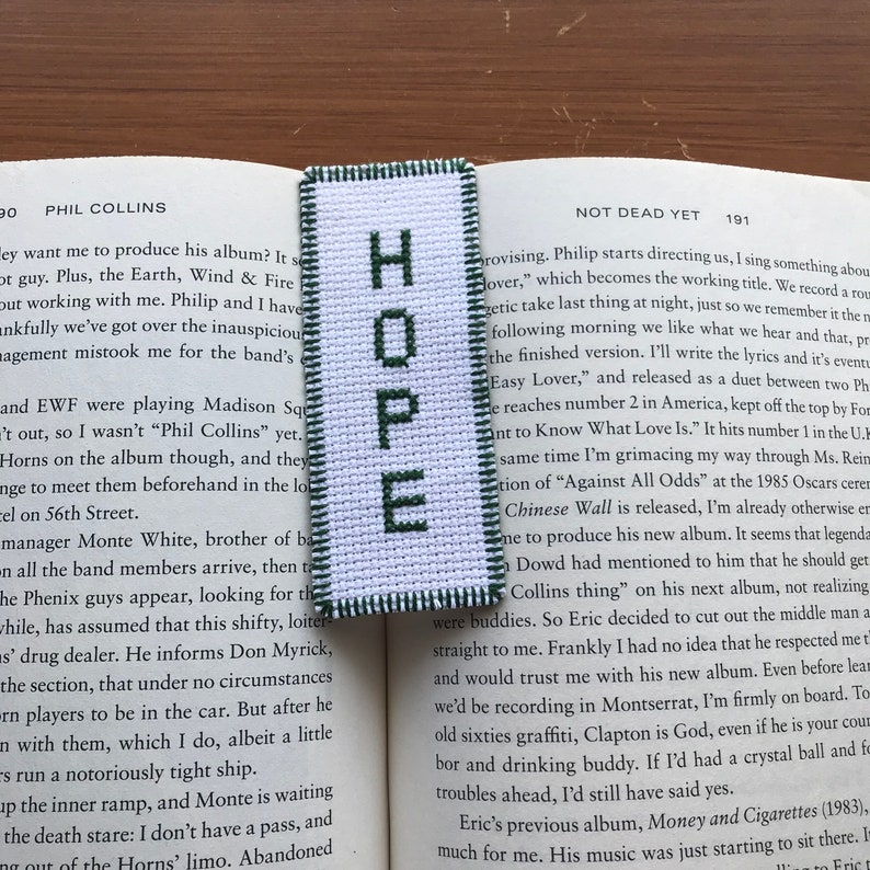 Cross stitch bookmark needlepoint embroidery names girl hope faith  expectation belief Bible white bright green birthday baptism bookworm