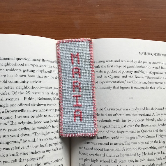Girl name bookmark Maria Latin handmade handcrafted cross stitch  needlecraft birthday graduation confirmation baptism gift light blue pink