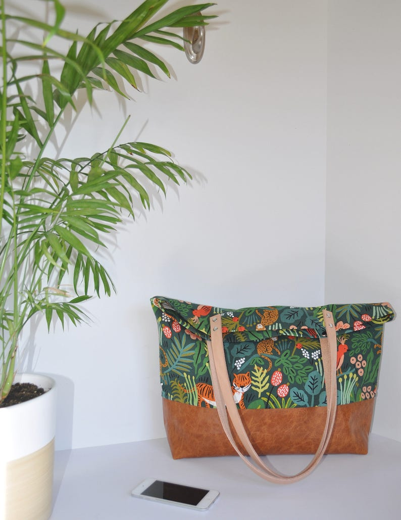 9f9e384ec Rifle Paper Jungle Canvas and Leather Tote Bag Carry All   Etsy
