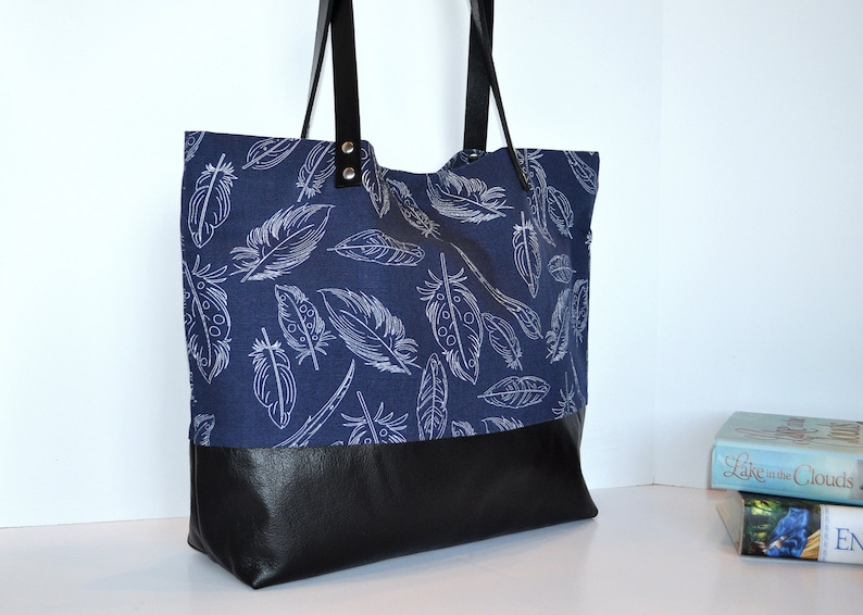 609a33b4a Navy Feather Canvas and Leather Tote Bag in Black Leather   Etsy