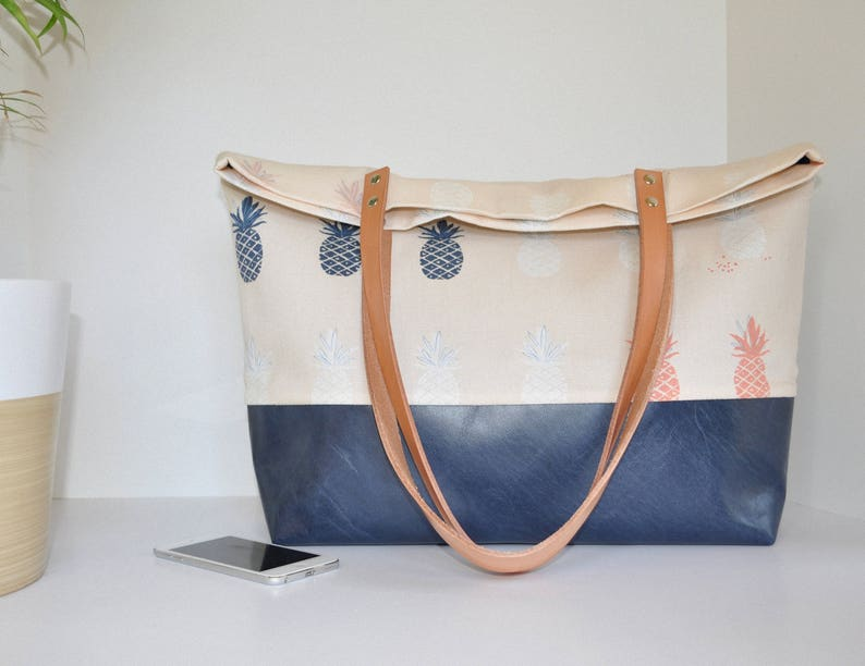 f12c14439 Blue Pinapple Canvas and Leather Tote Bag Carry All Leather   Etsy