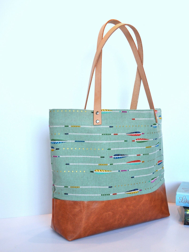 51c06c234 Arrows on Mint Canvas and Leather Tote Bag Carry All Leather   Etsy