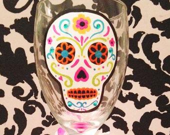 Sugar Skull wine glass