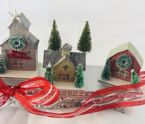 Mini Christmas Village Display.Mini Christmas House Village On Mantel Shelf For Holiday Display