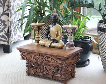 FAST SHIPPING!!! Solid Wood Hand Carved Tibetan Buddhist Prayer Shrine Altar Meditation Table