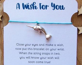 Narwhal Wish Bracelet, Friendship Bracelet, Narwhal Jewelry, Narwhal Charm Bracelet, Narwhal Party Favors, Cord Bracelet, Narwhal Gift