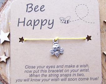 Bee Wish Bracelet, Silver Wish Bracelet, Bee Wish Bracelet, Bee Friendship Bracelet, Bee Charm Bracelet, Bee Jewelry, Bee Cord Bracelet