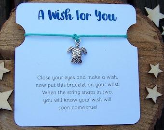 Sea Turtle Wish Bracelet, Silver Wish Bracelet, Sea Turtle Friendship Bracelet, Sea Turtle Jewelry, Cord Bracelet, Sea Turtle Charm Bracelet