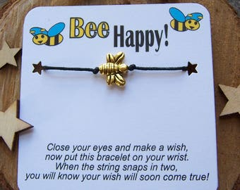 Bee Happy Wish Bracelet, Gold Wish Bracelet, Bee Wish Bracelet, Bee Friendship Bracelet, Bee Charm Bracelet, Bee Jewelry, Bee Cord Bracelet