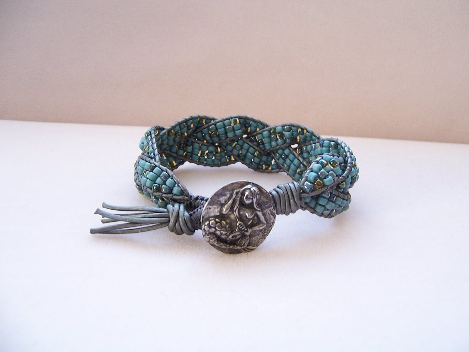 Blue Pewter Mermaid Beaded Braided Leather Wrap Cuff ...