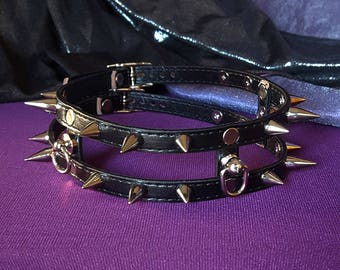 Fury Black Double Strap Spiked Cage 10mm Faux Leather Choker Buckling Kittenplay Petplay Day Collar