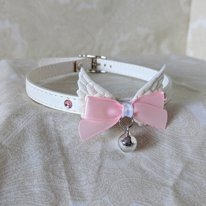 22489015ef66 10mm White and Pink Pegasus Faux Vegan Leather and Bow Choker