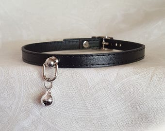 10mm Black Faux Vegan Leather Choker Buckling Kittenplay Petplay Collar