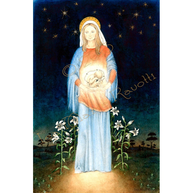 Preborn Jesus in Watercolor //Virgin Mary art//Catholic image 0