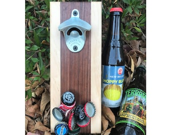 Dark Walnut and Maple Wall Mount Bottle Opener With Magnetic Cap Catcher