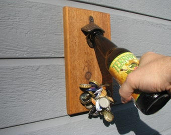 Wall Mount Bottle Opener With Magnetic Cap Catcher