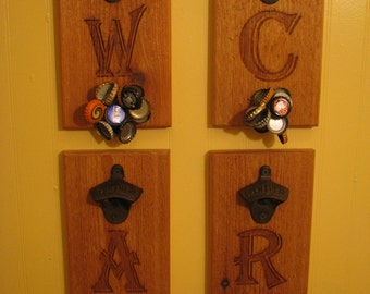 Personalized Engraved Letter For Wall Mount Bottle Opener With Magnetic Cap Catcher