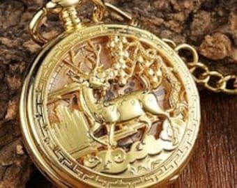 Beautiful Gold Mechanical Wind Up Reindeer Watch.