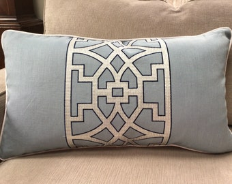 Schumacher Durance Embroidery Pillow Cover in Taupe Ready to Ship