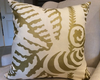 Botanical  Glitter 18x18 Square Throw Pillow by Spoonflower Gold Ferns Throw Pillow Gold Fern Leaf On Cream Vertical Stripe by jenlats