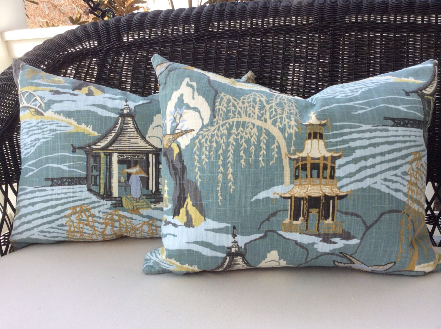 Robert Allen Neo Toile Spa Blue Asian Pagoda Etsy