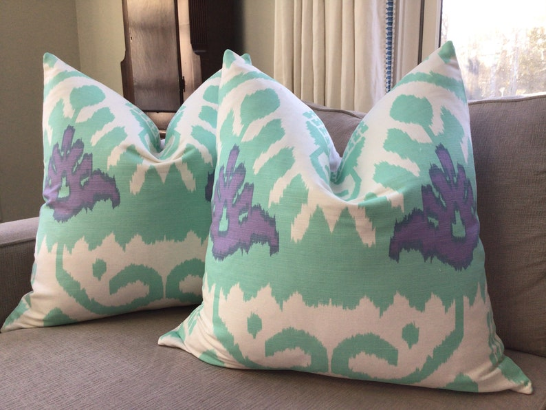 QUADRILLE KAZAK in stunning aqua and lilac  and white pillow image 0