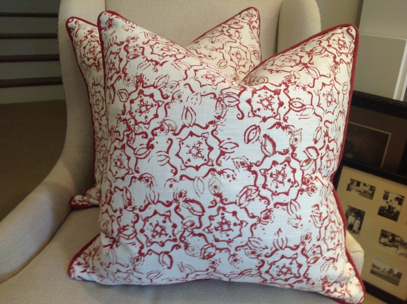 Pillow Cover In John Robshaw Fabric For Duralee Red Dazda Design Red Cord Trim White Linen Backing