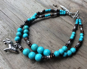 Spirit Animal Howling Wolf Charm, Southwest Native Turquoise Blue Stone and Wood Beaded Bracelet with Feather Charm