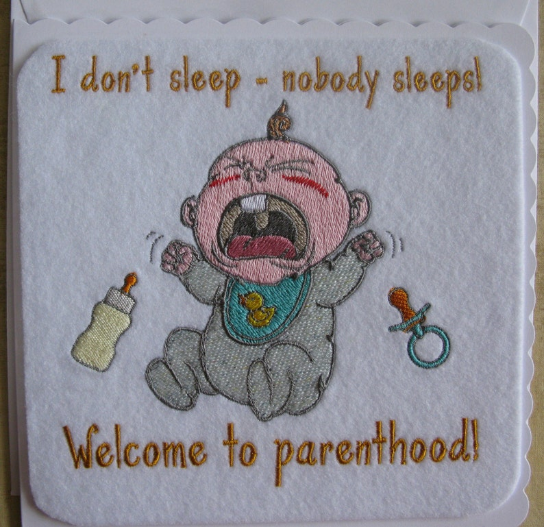 Cards can be made to order and personalised Baby Birth Card machine Embroidered New Baby Birth Card