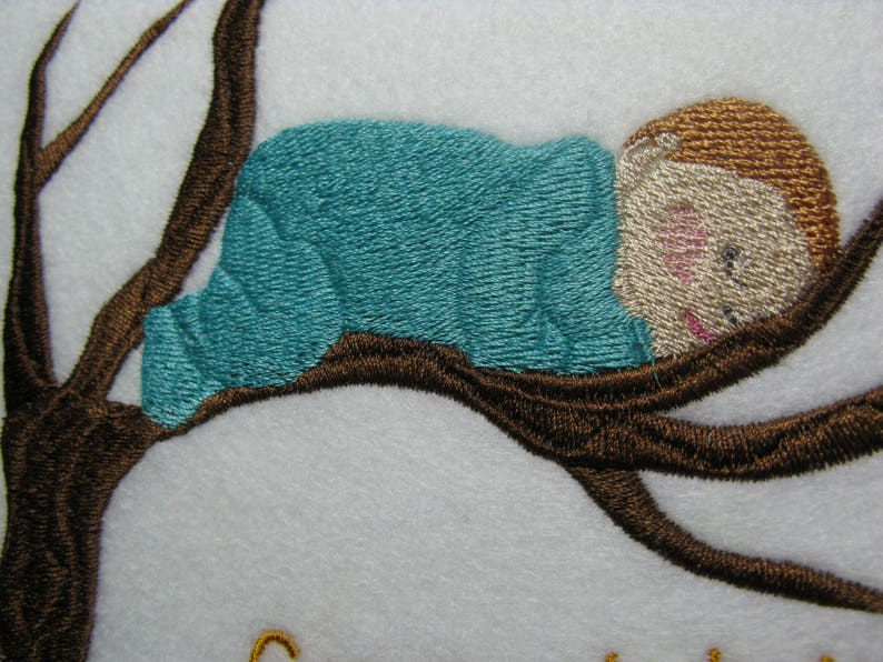 machine Embroidered New Baby Birth Card Cards can be made to order and personalised Baby Birth Card