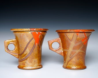 Stoneware Earthy Lidded Mugs, Desert Sunstreaks