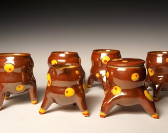 Stoneware Creamer and Cups Set:  Reach For The Stars