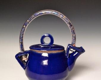 Blue Ceramic Teapot, Rockin'  and Rollin'