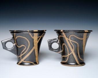 Stoneware Black Lidded Mugs, Midnight Magic
