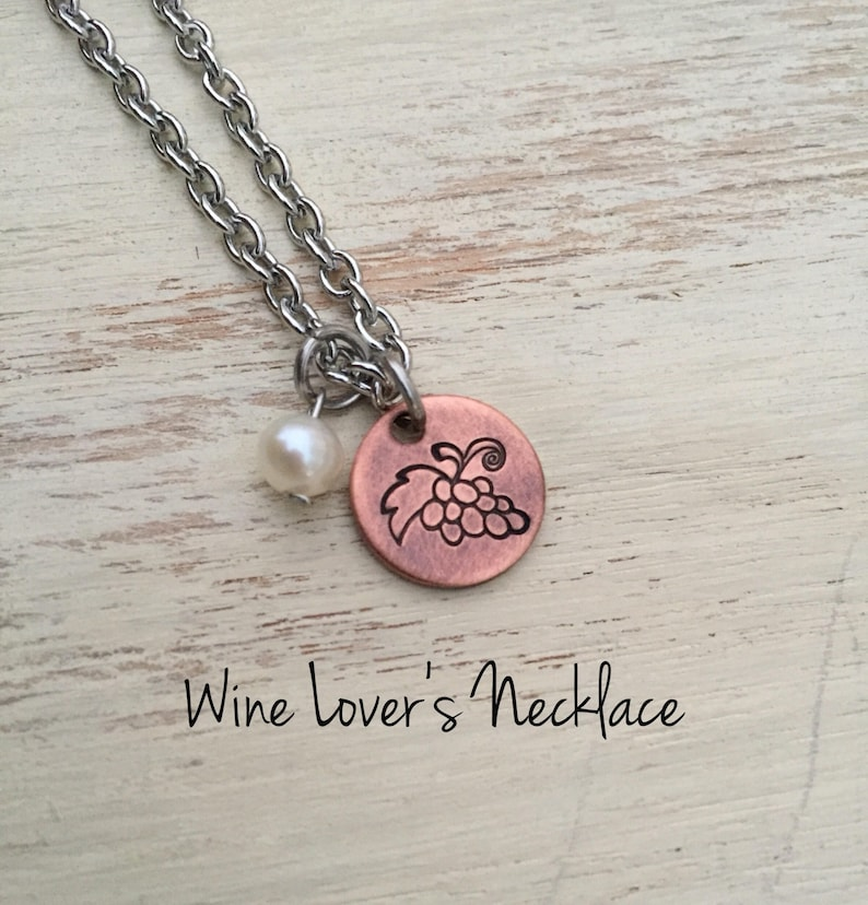 Wine Lover's Necklace Grapes Necklace Hand Stamped Copper image 0