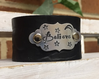 Believe Extra Small Leather Cuff with Handstamped Aluminum Plate