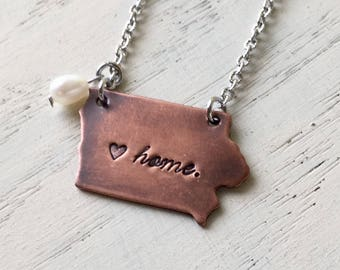 """Iowa State Copper Necklace Hand-stamped with freshwater pearl & 20"""" stainless steel chain"""