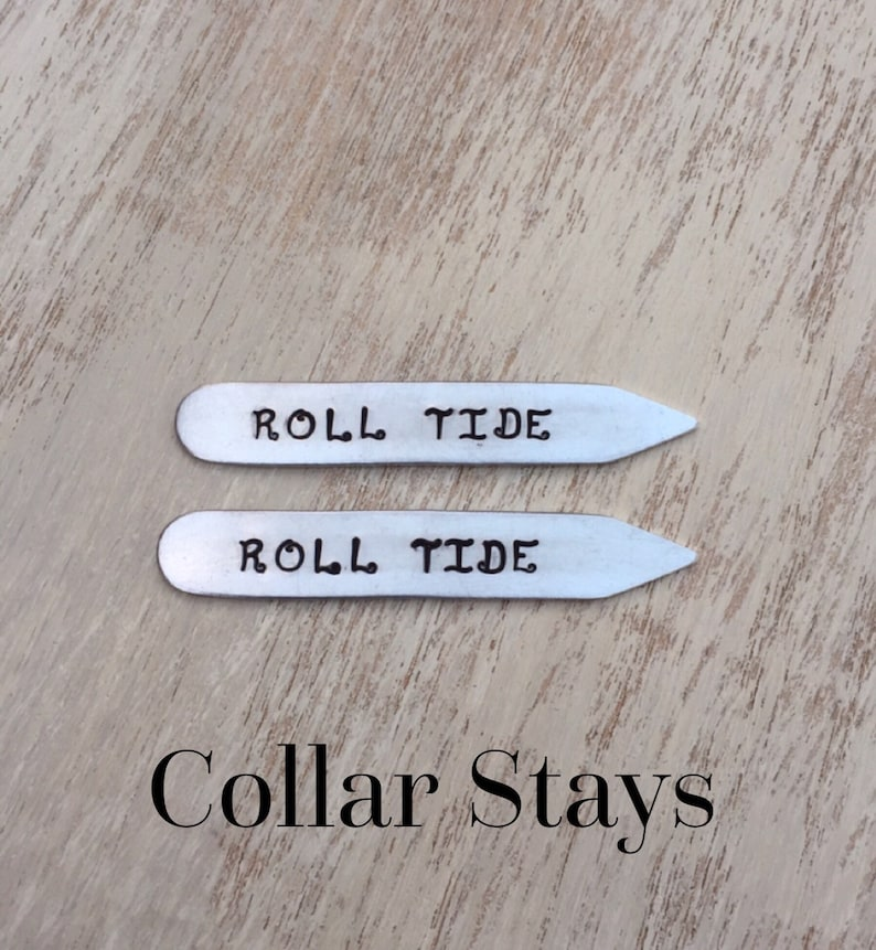 Alabama Roll Tide Collar Stays Gifts for Men Hand-stamped image 0