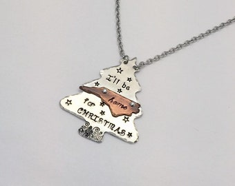 """North Carolina Christmas Tree Necklace """"I'll be home for Christmas"""" Hand stamped aluminum and copper"""