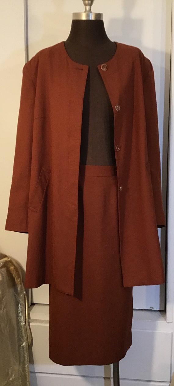 Lilli Ann 1950's Coat Jacket Suit Siena Rust Large
