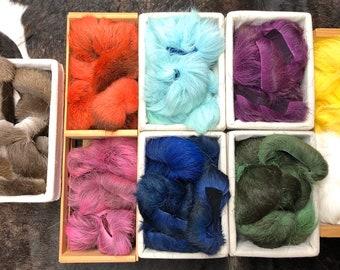 Caribou hair Fur for Tufting, artisan hand dyed