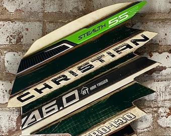 Custom University of North Dakota Inspired Hockey Sign with Salvaged Hockey Sticks, Distressed Wood, Custom Team Colors and Size Options