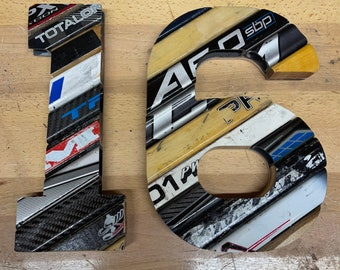 Custom Cross Country Ski Numbers/Letters/Symbols Made With Salvaged X-Skis Custom Size Options and Laser Etching - Seniors, Coaches, Players