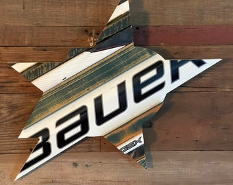 Custom Dallas Texas Stars Inspired Hockey Sign with Salvaged Hockey Sticks, Distressed Wood, Custom Team Colors and Size Options