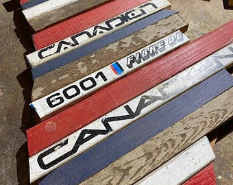 Custom Province of Ontario Canada Hockey with Salvaged Hockey Sticks, Rustic Distressed Barn Wood, Custom Team Colors and Size Options