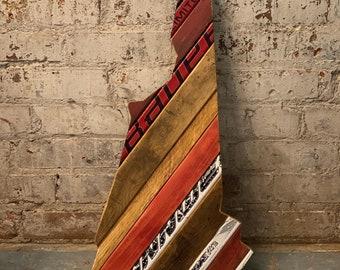 Custom State of New Hampshire Hockey with Salvaged Hockey Sticks and Rustic Barn Wood